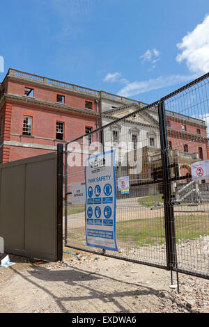 Boarded up after the devastating fire left a burnt out shell of Clandon Park House, Surrey, England, UK. - Stock Photo
