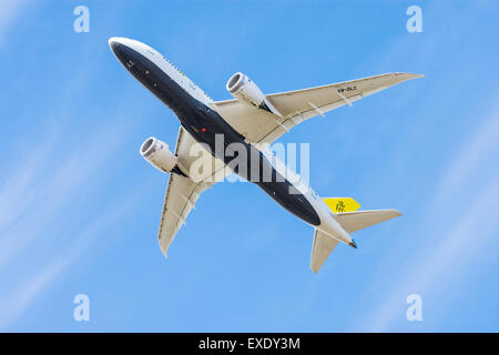 Royal Brunei Airlines Boeing 787 Dreamliner directly overhead - Stock Photo