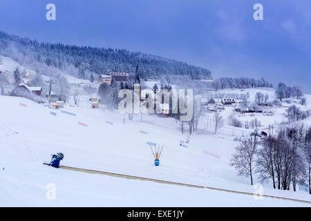 Zieleniec, the largest ski resort in Klodzko Valley (one of the largest in the Sudetenland), Orlicke Mountains, - Stock Photo