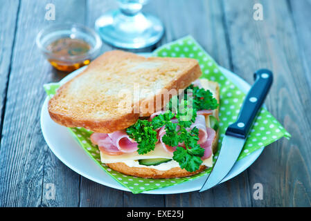 sandwiches with ham and fresh vegetebles - Stock Photo
