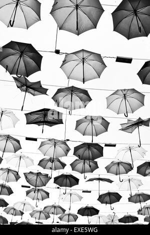 An overhead display of umbrellas in Turkey - Stock Photo