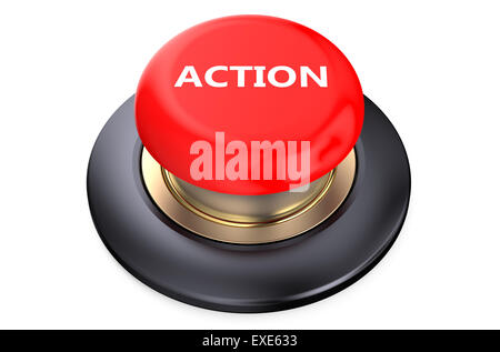 'Action' red push-button  isolated on white background - Stock Photo