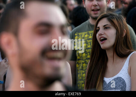 Athens, Athens. 12th July, 2015. People hold anti-austerity rally in front of Greek Parliament, Athens, July 12, - Stock Photo