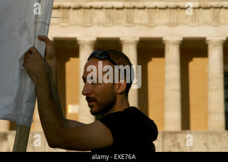 Athens, Athens. 12th July, 2015. A man participates anti-austerity rally in front of Greek Parliament, Athens, July - Stock Photo