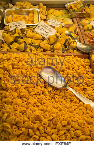 Tortellini and Tortelloni at Old Medieval Market, Bologna, Italy - Stock Photo
