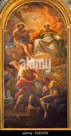 ROME, ITALY - MARCH 25, 2015: The Paint Holy Trinity and the liberation of the one slave by Corrado Giaquinto - Stock Photo