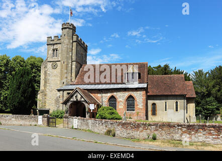 English Village part Saxon Church with tower and clock at Little Missenden in Bucks - Stock Photo