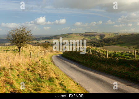 Combe Bottom, looking towards Bratton. - Stock Photo