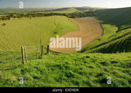 Looking down into Combe Bottom towards Bratton. - Stock Photo