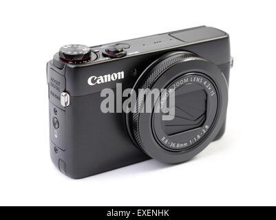 Canon PowerShot G7X compact digital camera isolated on white background - Stock Photo