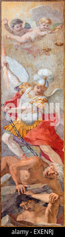 ROME, ITALY - MARCH 26, 2015: The fresco of St Michael Defeating Satan  by Giacinto Gimignani Chiesa di Santa Maria - Stock Photo