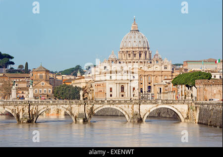 Rome - Angels bridge and St. Peters basilica in morning - Stock Photo