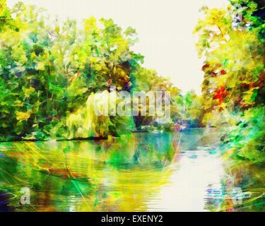 DIGITAL ART: Nymphenburg Park at Munich (Germany/Bavaria) - Stock Photo