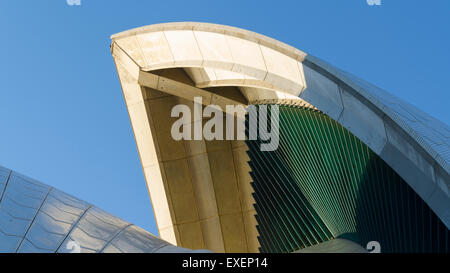 Morning sun on one of the sails of the Sydney Opera House in Australia - Stock Photo