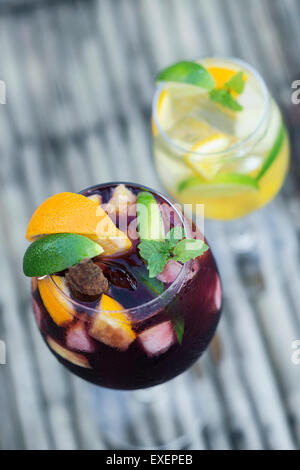 white and red wine sangria cocktail drinks - Stock Photo