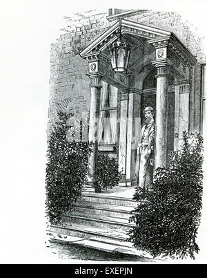 This illustration from John Forster's The Life of Charles dickens shows the porch at Gadshill, the mansion in the - Stock Photo