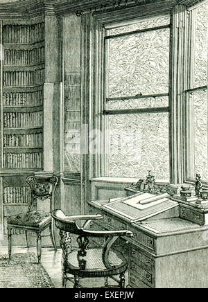 This illustration from John Forster's The Life of Charles dickens shows the study at Gadshill, the mansion in the - Stock Photo
