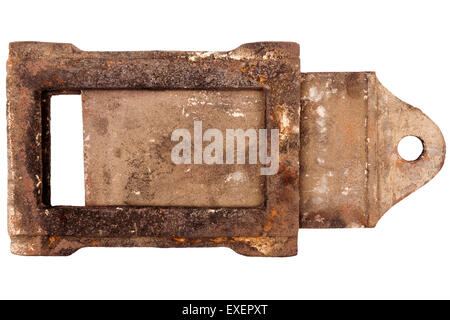 Rusty vintage stove damper isolated on white background - Stock Photo