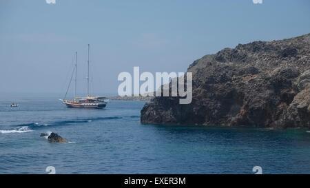 A moored Sailing boat at Cala Juni, Panarea - Stock Photo