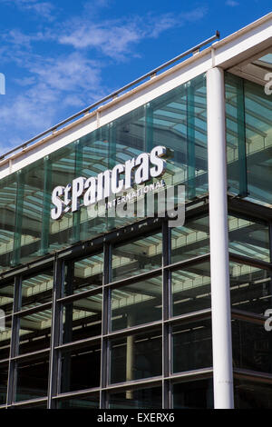 LONDON, UK - JULY 10TH 2015: The sign above the main entrance for St. Pancras Internation train station in Kings - Stock Photo