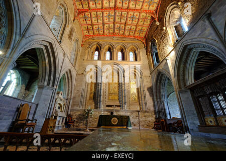 The interior of St David's Cathedral in Pembrokeshire, Wales, UK. The work on the present Cathedral began in 1181. - Stock Photo
