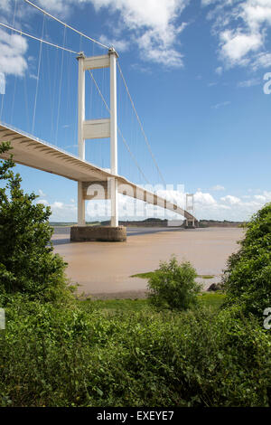 The old 1960s Severn bridge crossing between Beachley and Aust, Gloucestershire, England, UK looking east - Stock Photo