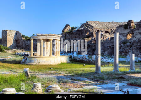 Temple of Tyche, Side, Antalya, Pamphylia, Turkey - Stock Photo