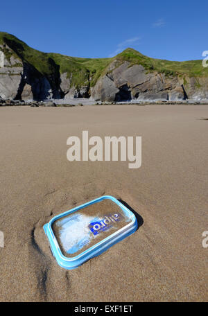 Plastic waste washed up from the sea on Marloes Sands, Pembrokeshire, Wales - Stock Photo