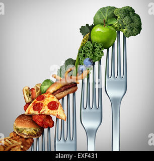 Diet progress change as a healthy lifestyle improvement concept and evolving to accept the challenge of eating raw - Stock Photo