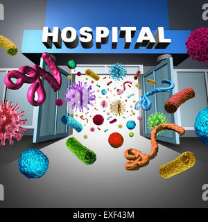 Hospital germs spreading and super bug bacteria and bacterium cells floating in microscopic space as a medical concept - Stock Photo