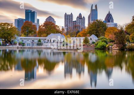 Atlanta, Georgia, USA autumn skyline from Piedmont Park. - Stock Photo