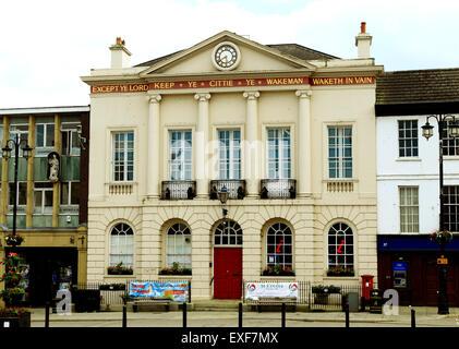 Ripon Town Hall with Wakeman inscription, Market Square, Yorkshire England UK - Stock Photo