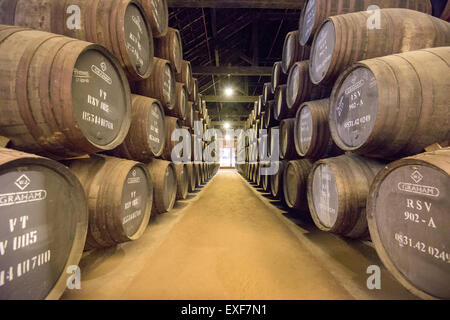 Wine ages at Graham's Port Lodge in Porto, Portugal. - Stock Photo