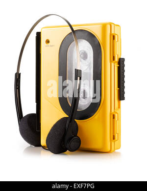 An old fashioned yellow portable Walkman style cassette player - Stock Photo
