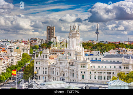 Madrid, Spain cityscape with Communication Palace and Torrespana Tower. - Stock Photo