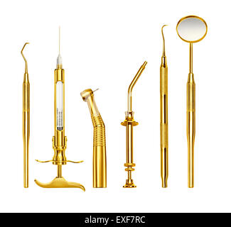 A row of gold dentist tools - Stock Photo