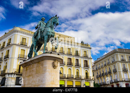 Madrid, Spain at the King Charles III equestrian statue in Puerta del Sol. - Stock Photo