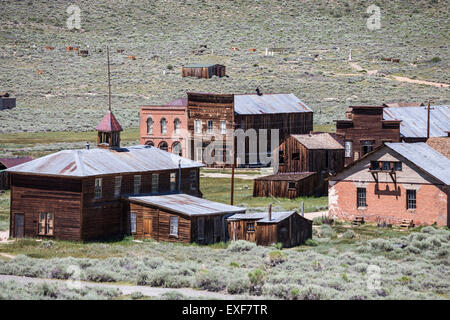 Bodie ghost town buildings at Bodie State Historic Park in California. - Stock Photo