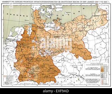 Historical map, spread of infectious diseases in the German Empire in 1892 and 1893, - Stock Photo
