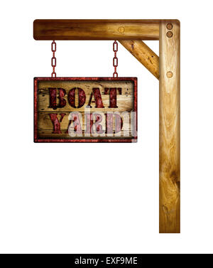 Wooden rusty boat yard sign over a white background. - Stock Photo