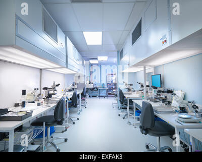 Empty clean room in electronics factory - Stock Photo