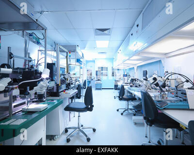 Empty laboratory in electronics factory - Stock Photo