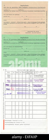 Vaccination record card, Germany, 1960, Europe - Stock Photo