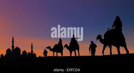 Camel caravan arriving at mosque, Abu Dhabi, United Arab Emirates - Stock Photo