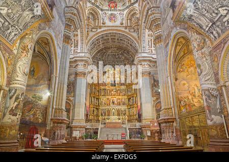 GRANADA, SPAIN - MAY 29, 2015: The nave of church Monasterio de San Jeronimo. - Stock Photo