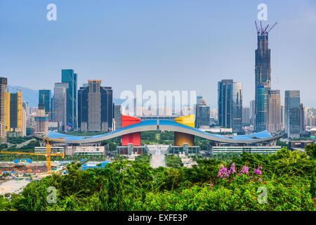Shenzhen, China city skyline in the civic center district. - Stock Photo