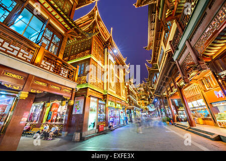 Shoppers in the Yuyuan Bazaar of Shanghai, China. - Stock Photo