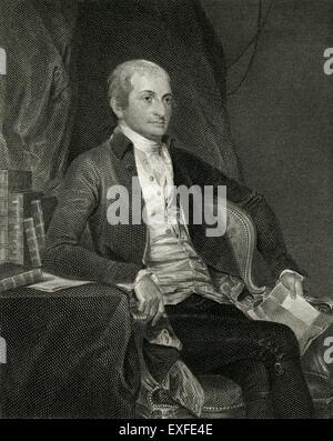 Antique c1860 engraving, John Jay. John Jay (1745-1829) was an American statesman, Patriot, diplomat, one of the - Stock Photo