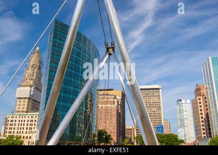 Hartford, Connecticut, USA cityscape at Founders Bridge. - Stock Photo