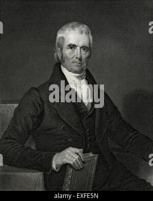 Antique c1860 engraving, John Marshall LL.D. John Marshall (1755-1835) was the fourth Chief Justice of the Supreme - Stock Photo
